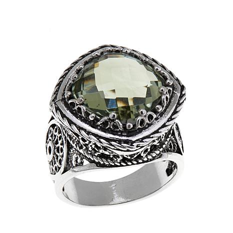 Ottoman Silver 5.3ct Cushion-Cut Prasiolite Ring
