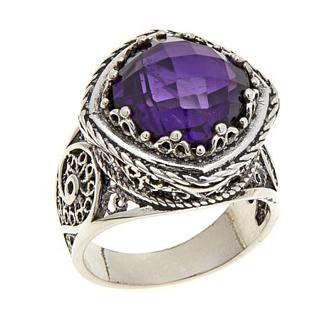 Ottoman Silver 5.9ct Cushion-Cut Amethyst Ring