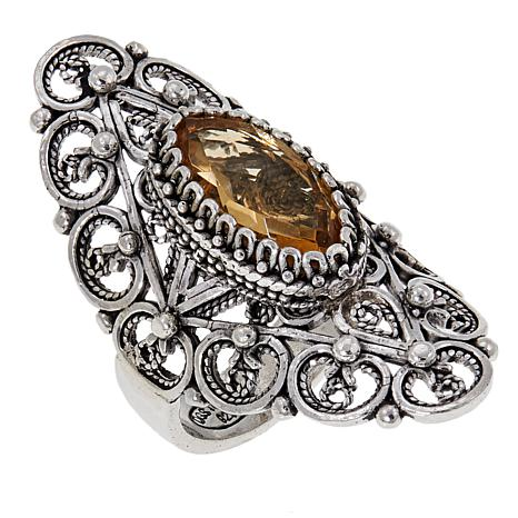 Ottoman Silver Jewelry 2.5ct Citrine Elongated Ring