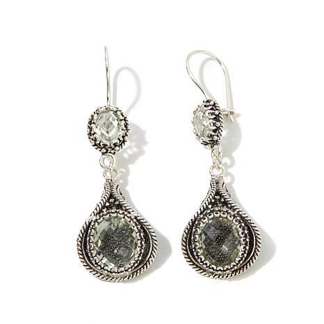 Ottoman Silver Jewelry 9.30ctw Prasiolite Drop Earrings