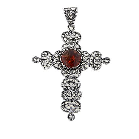 Ottoman Silver Jewelry Amber Filigree Budded Cross Pendant