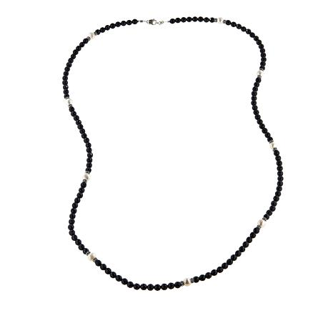 """Ottoman Silver Jewelry Black Spinel and Cultured Pearl 40"""" Necklace"""