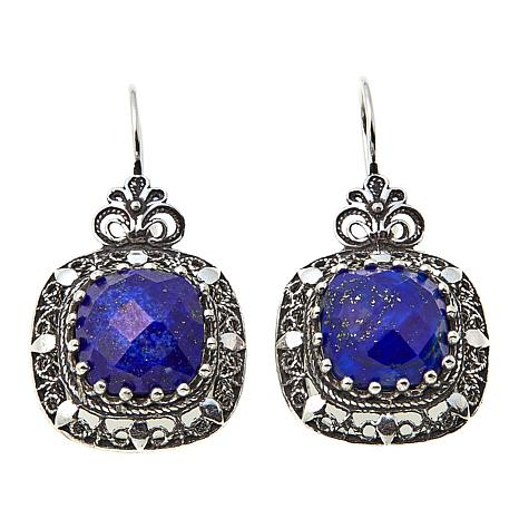 Ottoman Silver Jewelry Collection Square Lapis Drop Earrings
