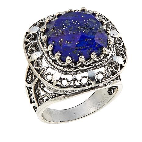 Ottoman Silver Jewelry Collection Square Lapis Ring