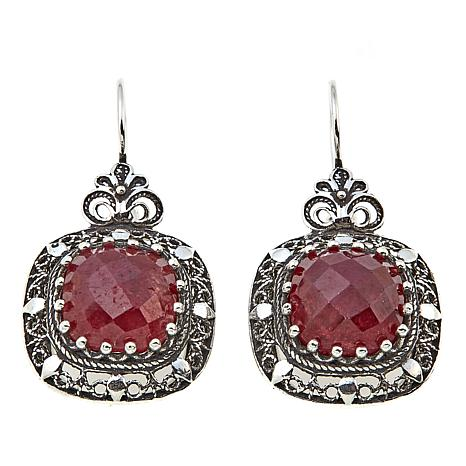 Ottoman Silver Jewelry Collection Square Ruby Drop Earrings