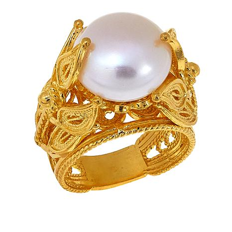 Ottoman Silver Jewelry Goldtone Cultured Freshwater Pearl Blossom Ring