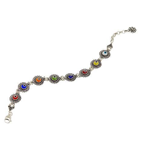 Ottoman Silver Jewelry Multi-Color Evil Eye Bracelet