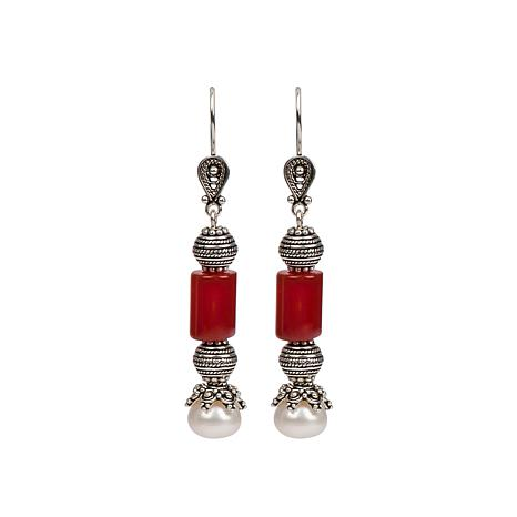 Ottoman Silver Red Agate and Cultured Pearl Drop Earrings