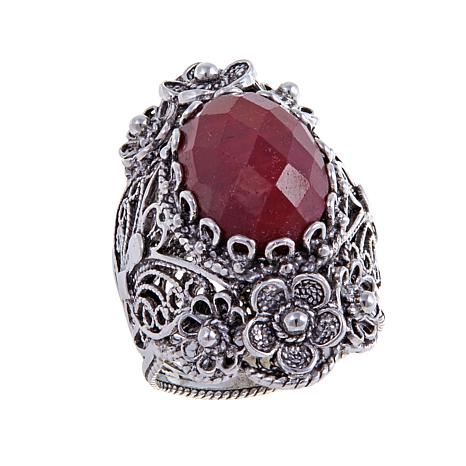 Ottoman Silver Red Corundum Floral Ring