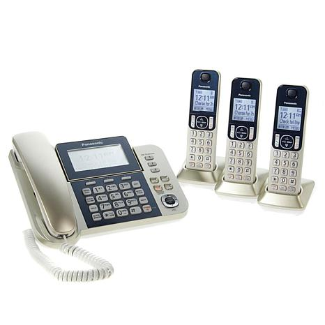 Panasonic Dect 6 0 Corded And Cordless 4 Handset Phone System With Call Block Digital Answering