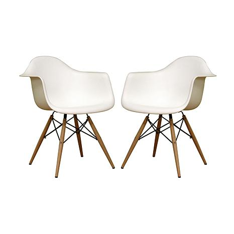 Pascal White Molded Plastic Chairs Set Of 2