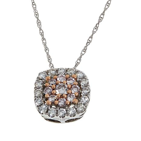 Passport to Gems 14K .40ctw Pink and White Diamond Pendant with Chain