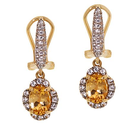 Passport to Gems 14K Gold Imperial Topaz and Zircon Earrings