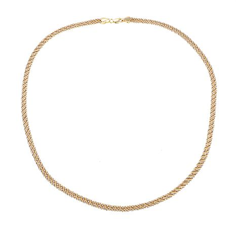 "Passport to Gold 14K 2-tone Rope and Bead Chain 17"" Necklace"