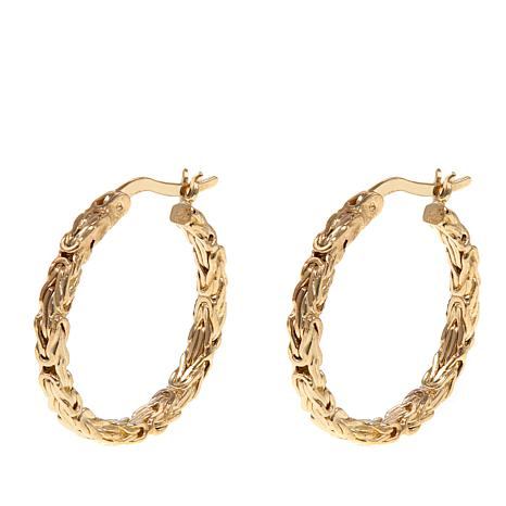 Pport To Gold 14k Byzantine Hoop Earrings