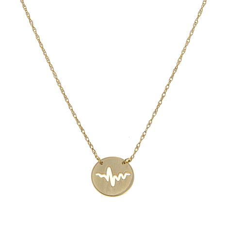 "Passport to Gold 14K Gold Cutout Heartbeat 16"" Necklace"