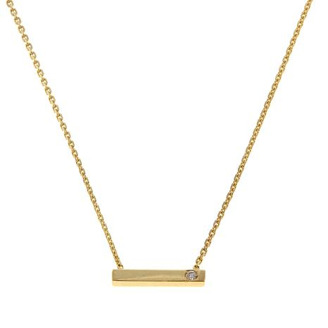 "Passport to Gold 14K Gold Diamond Bar 16"" Necklace"