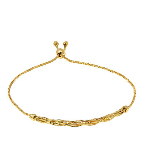 Passport to Gold 14K Gold Twisted Bar Wheat-Chain Adjustable Bracelet