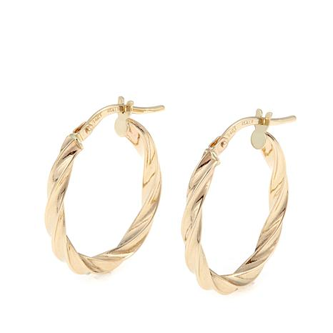 Pport To Gold 14k Twisted Oval Hoop Earrings