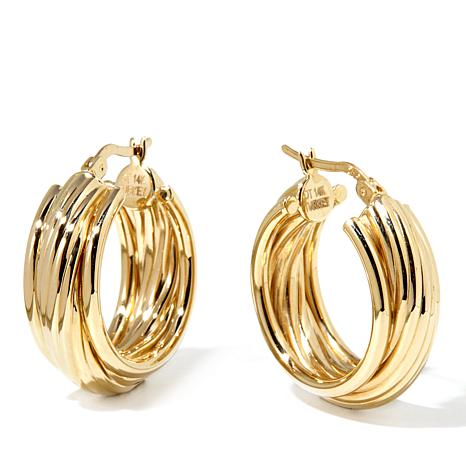 Pport To Gold 14k Wred Texture Hoop Earrings