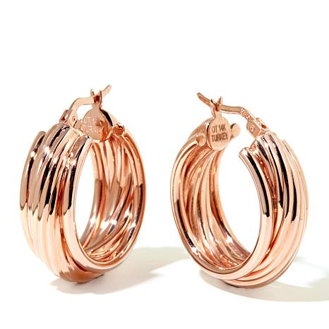 """Passport to Gold 14K """"Wrapped"""" Texture Hoop Earrings"""