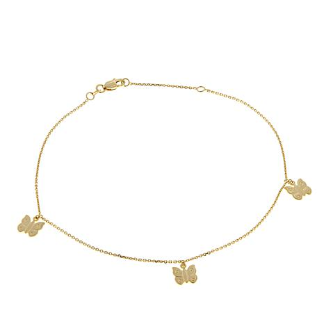 "Passport to Gold 14K Yellow Gold Butterfly 9"" Anklet"