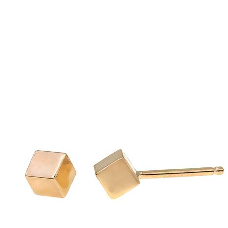 Passport to Gold 14K Yellow Gold Cube Stud Earrings