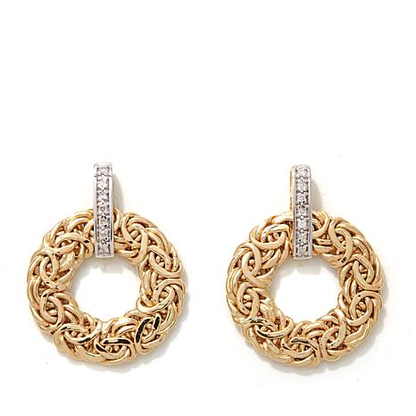 Pport To Gold Diamond Accented Byzantine Earrings