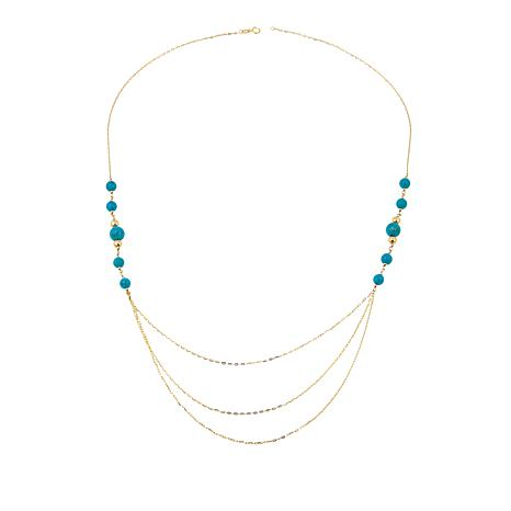 """Passport to Gold Turquoise Beaded 14K Gold Multistrand 24"""" Necklace"""