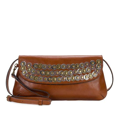 Patricia Nash Baku Coin-Embellished Leather Clutch