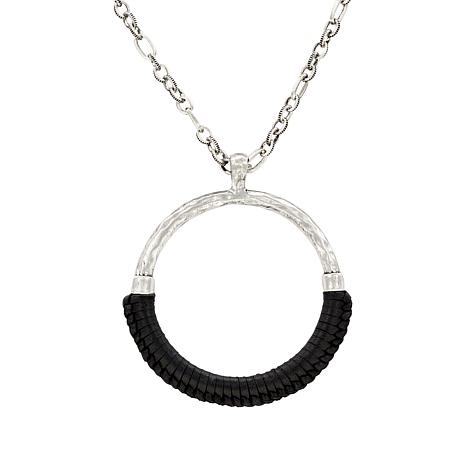 """Patricia Nash Carmelina 34"""" Leather-Wrapped Ring Necklace"""