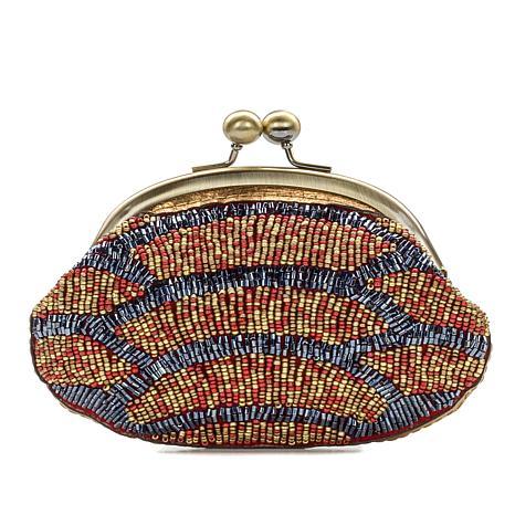 Patricia Nash Cecilia Beaded Metallic Leather Frame Coin Bag