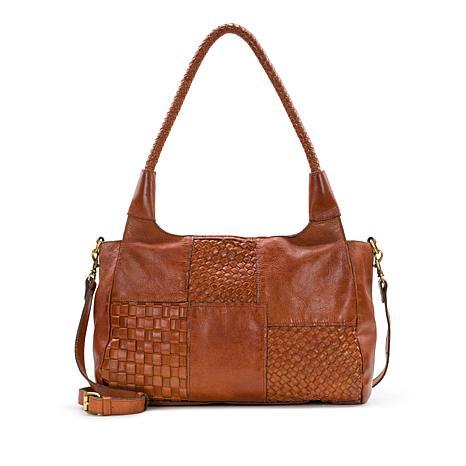 Patricia Nash Ponza Three-Way Weave Leather Satchel