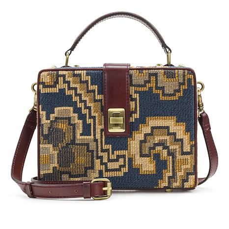Patricia Nash Tauria Tapestry Box Satchel with Leather Trim