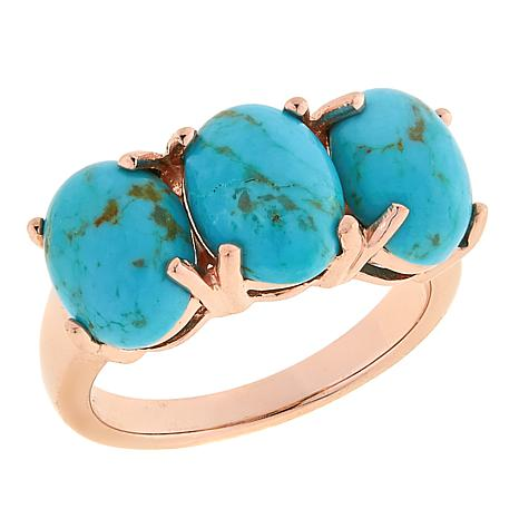 Paul Deasy Gem Rose Gold-Plated 3-Stone Kingman Turquoise Ring