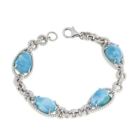 Paul Deasy Gem Sterling Silver Larimar Rope Design Bracelet