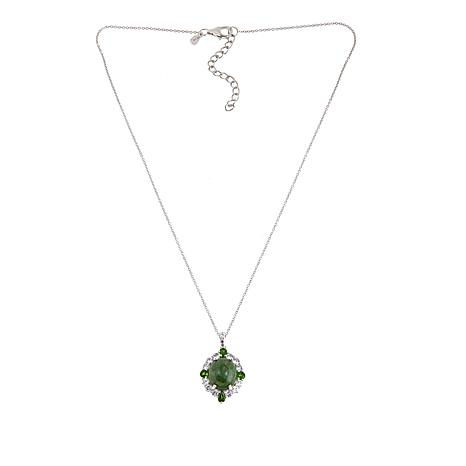 """Paul Deasy Gem Wyoming Jade and Chrome Diopside Pendant with 18"""" Chain"""