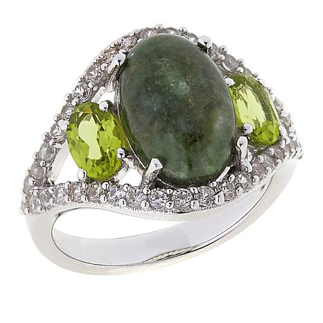Paul Deasy Gem Wyoming Jade, Arizona Peridot and White Zircon Ring
