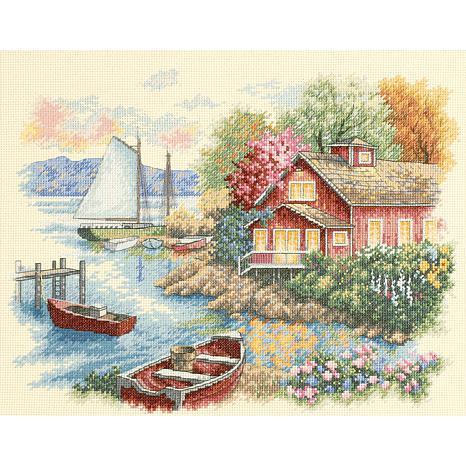 Peaceful Lake House Counted Cross Stitch Kit - 14 x 11