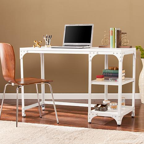 Penelope Industrial Writing Desk - Distressed White