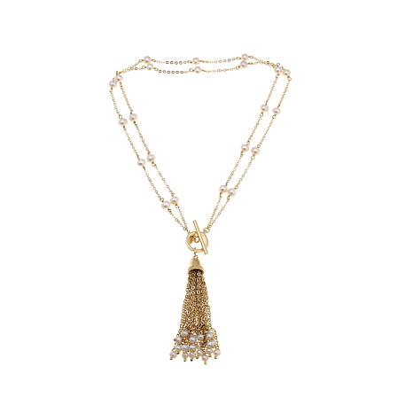 Perlaviva Couture Cultured Pearl Tassel Necklace