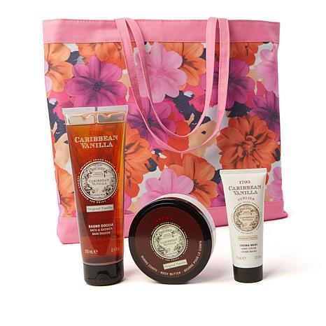Perlier Caribbean Vanilla 3-piece Kit with Floral Tote