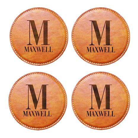 Personal Creations Personalized Initially Yours Leather Coasters