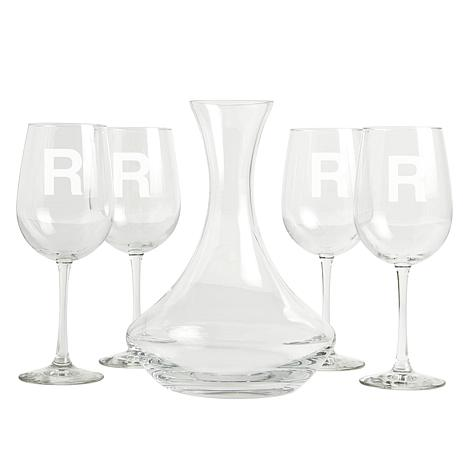 Personalized 5-Piece Wine Entertaining Set - Single Block Initial