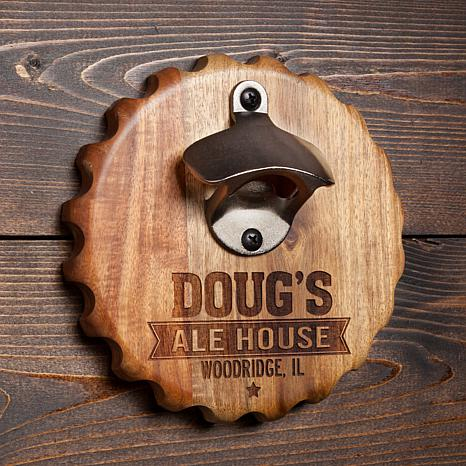 Personalized Magnetic Beer Cap Holder and Beer Opener