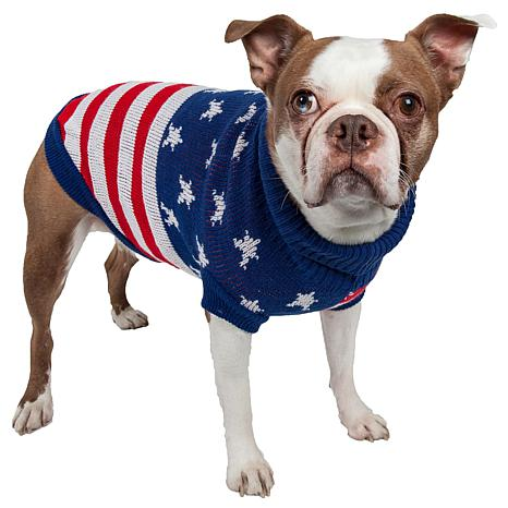 Pet Life Patriot Independence Star Ribbed Turtleneck Dog Sweater