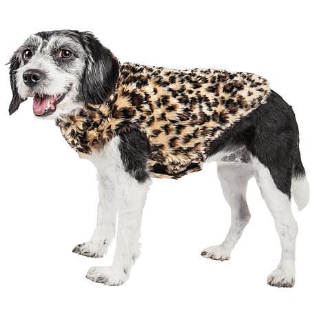 Pet Life Poocheetah Spotted Cheetah Pattern Faux Mink Fur Dog Coat