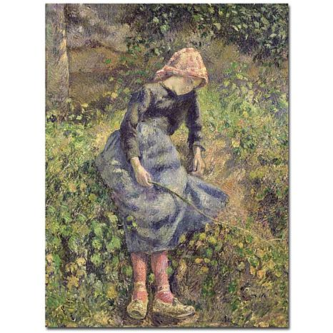 Pissarro 'Girl with a Stick 1881' Canvas Art Print