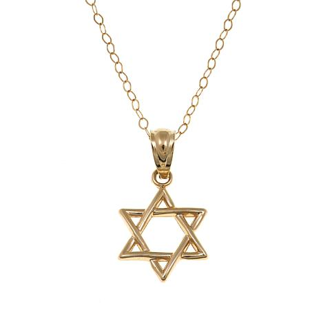 "PPassport to Gold Kids 14K Star of David Pendant with 15"" Chain"