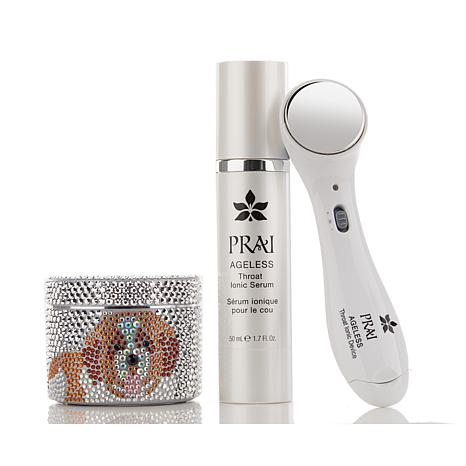 PRAI Ageless Throat Ionic Device with Serum & Throat and Dec Creme